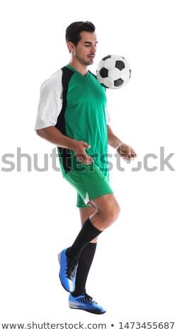 Teljes alakos fiatal fickó zsonglőrködés futball szürke Stock fotó © ichiosea
