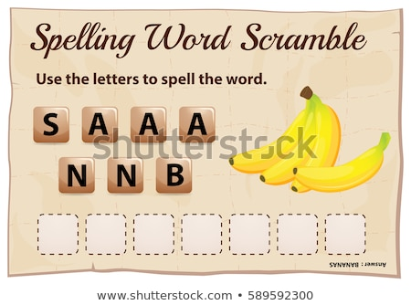 Spelling word scramble template for word bananas Stock photo © colematt