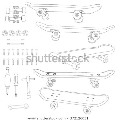 Gördeszka fölösleges alkatrészek szett felszerlés elemek Stock fotó © netkov1