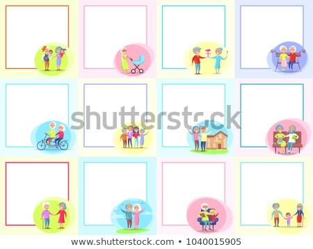 Avós dia conjunto pôsteres diariamente atividades Foto stock © robuart