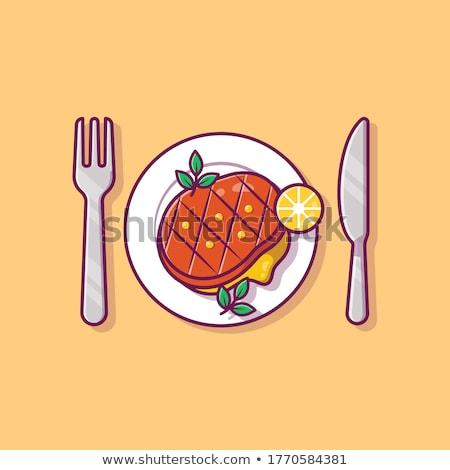 バーベキュー ビーフステーキ プレート ハーブ 食事 ストックフォト © robuart