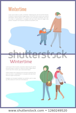 Going Couple and Mum with Kid in Wintertime Vector Stock photo © robuart