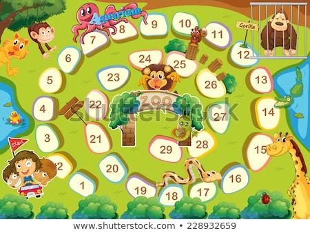 állatkert társasjáték számok gyerekek gyermek oktatás Stock fotó © colematt