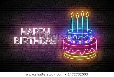 Feliz aniversário néon etiqueta celebração promoção festa Foto stock © Anna_leni