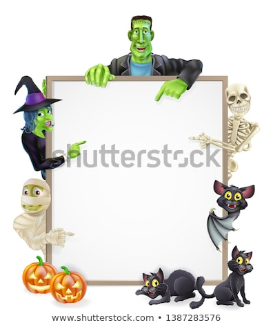 Cartoon witch on a broom holding a sign. Stock photo © bennerdesign