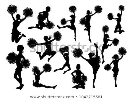 Pompomlány részletes sziluettek sziluett tart nők Stock fotó © Krisdog