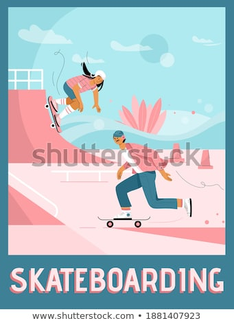 People in Park Poster Girl Skateboarding Vector Stock photo © robuart
