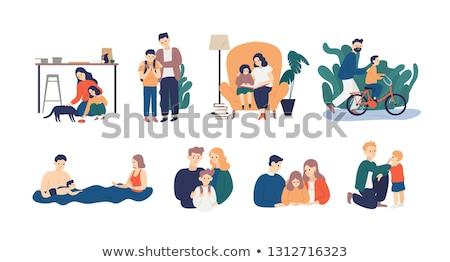 nagyszülők · unokák · poszter · család · emberek · jó - stock fotó © robuart