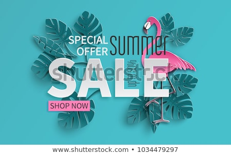 summer sale design with tropical palm leaves and typography letter on yellow background vector holi stock photo © articular