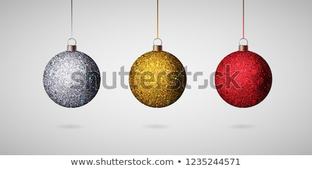 Silver shiny glitter Christmas balls Vector realistic. Merry Chr Stock photo © frimufilms