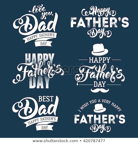 mutlu · babalar · günü · tebrik · kartları · ayarlamak · bağbozumu - stok fotoğraf © marish