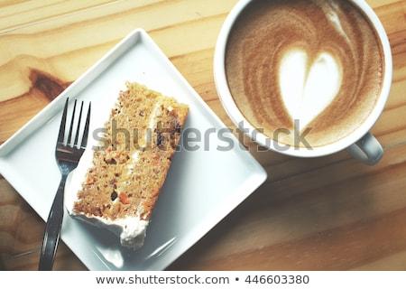 torta · nuez · café · crema · femenino · manos - foto stock © nyul
