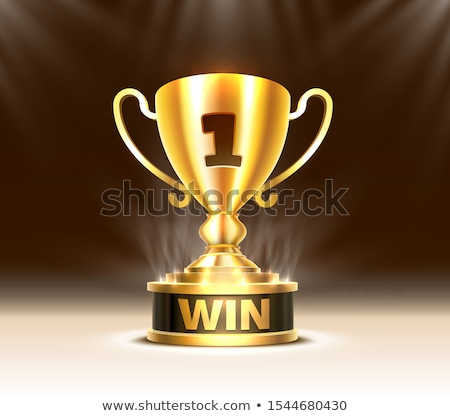 golden trophy cup on pedestal vector illustration stock photo © robuart