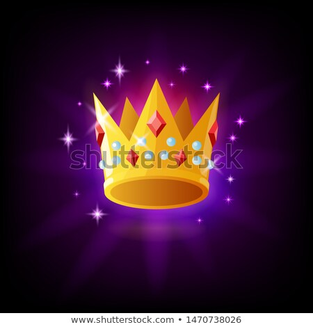 Gold crown with rubies and pearls icon with sparkles on dark purple background, monarchy and luxury  Stock photo © MarySan