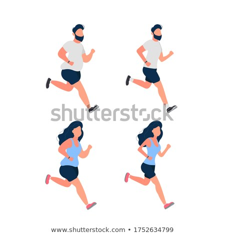 Funny plump young running woman illustration  Stock photo © tiKkraf69
