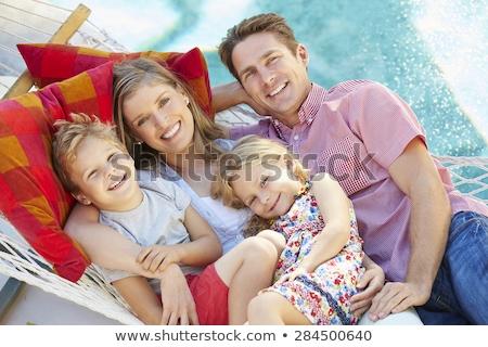 Meisje vader ontspannen hangmat meisje bergen Stockfoto © AndreyPopov