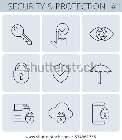Seguro chave trancar ícone negócio Foto stock © rwgusev