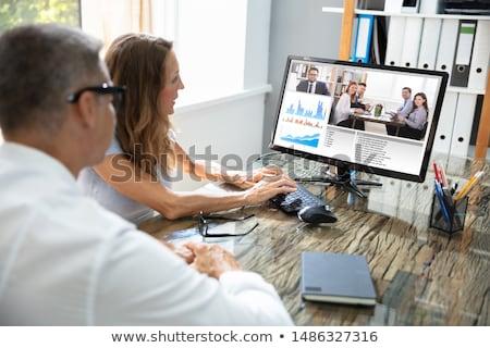 zakenman · video · team · kantoor · computer · bureau - stockfoto © andreypopov