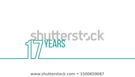 17 years anniversary or birthday. Linear outline graphics. Can be used for printing materials, brouc Stock photo © kyryloff
