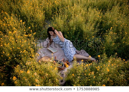 Woman lying in rapeseed field reading Stock photo © lichtmeister