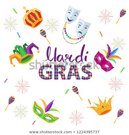 Magri Gras Carnival Flat Vector Concept with Mask Stock photo © robuart