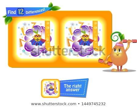 12 diferenças engraçado fruto super jogo Foto stock © Olena