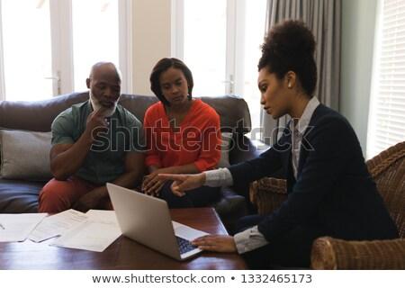 Oldalnézet női ingatlanügynök idős pár megbeszél laptop Stock fotó © wavebreak_media