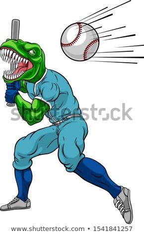 Cartoon dinosaures baseball illustration heureux sport Photo stock © bennerdesign