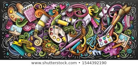 Művész ellátás szín illusztráció művészetek firka Stock fotó © balabolka