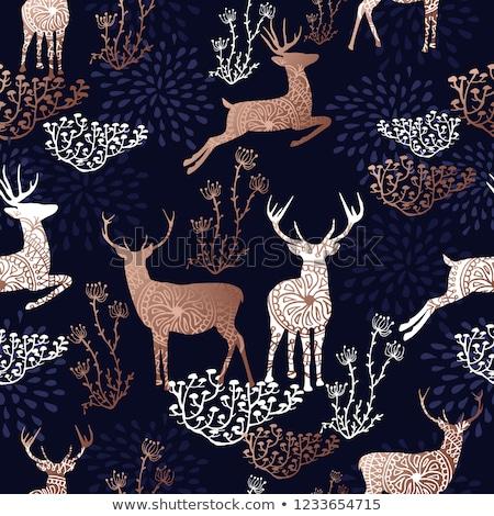 Natal ano novo cobre veado ornamento cartão Foto stock © cienpies