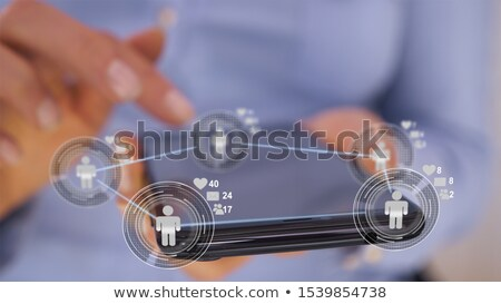 Businesswoman hands using futuristic application to collaborate  Stock photo © lightkeeper