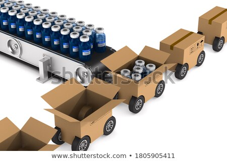 white boxes and conveyor on white background. Isolated 3D illust Stock photo © ISerg