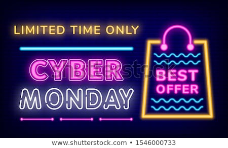 Cyber Discount on Monday, Limited Time, Neon Board Stock photo © robuart