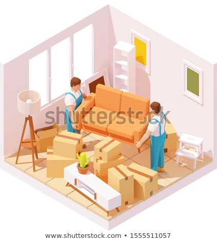 Vector isometric movers carrying sofa in room Stock photo © tele52