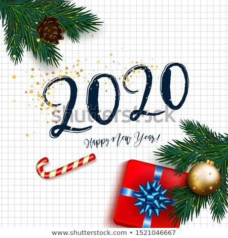 с Новым годом конфеты тростник числа лук Сток-фото © olehsvetiukha