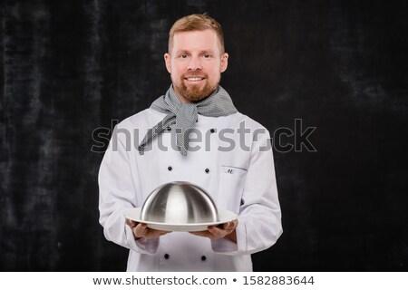 Fiatal sikeres szakács egyenruha tart előkészített Stock fotó © pressmaster