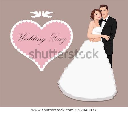 Souriant mariée marié carte postale mariage vecteur Photo stock © robuart