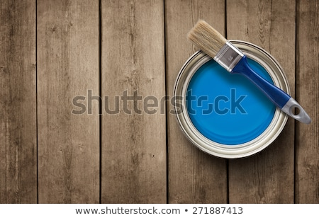 Tin cans with paint and brushes Stock photo © JanPietruszka