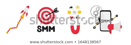 Vector set of smm elements. Social Media Marketing. Reach and promotion among target audience. Clip  Stock photo © user_10144511