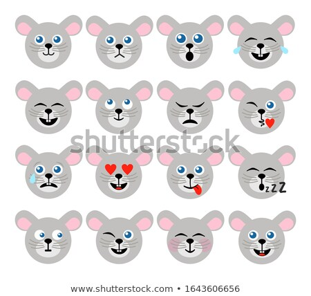 Mouse face cheerful emoticon sticker Stock photo © barsrsind