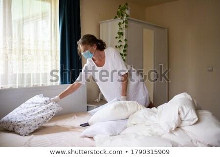 Mulheres higiênico máscara segurança ao ar livre Foto stock © galitskaya