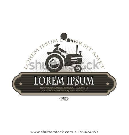 Organic Farmer Driving Vintage Farm Tractor Silhouette Retro Monochrome Stock photo © patrimonio