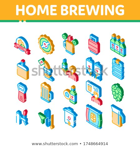Home Brewing Beer Isometric Icons Set Vector Stock photo © pikepicture