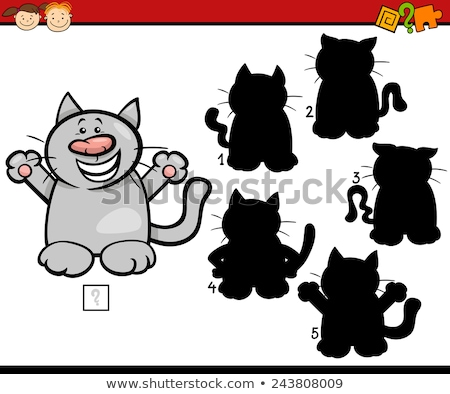 educational shadow game with cartoon cats characters Stock photo © izakowski