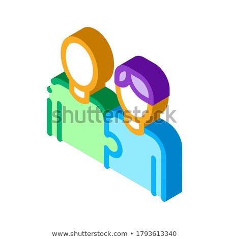 Ludzi jeden całość izometryczny ikona wektora Zdjęcia stock © pikepicture