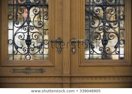 Ajtóküszöb ősi vasaló ajtó közelkép kilátás Stock fotó © bbbar