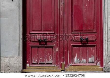 Oude verdubbelen houten deur metalen lampen Stockfoto © premiere