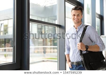 Fiatalember eladó eligazítás férfi megbeszélés laptop Stock fotó © photography33