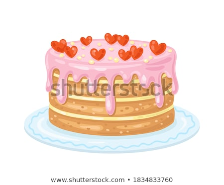 birthday greeting card with girl and big cupcake Stock photo © balasoiu