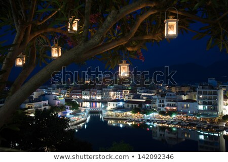 Night panorama of Aghios Nikolaos town in Crete Stock photo © michey